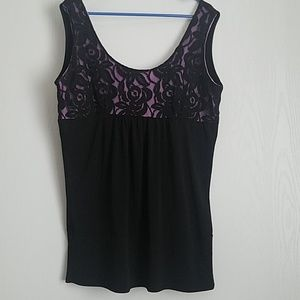 Fancy Black Lace Over Lilac tank 2x